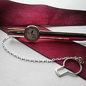 Украшения ручной работы. Ярмарка Мастеров - ручная работа Серебряный зажим на галстук с инициалами. Handmade.