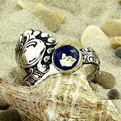 """Украшения ручной работы. Ярмарка Мастеров - ручная работа """"Нежность ночного моря"""" серебряное винтажное кольцо лэмпворк. Handmade."""