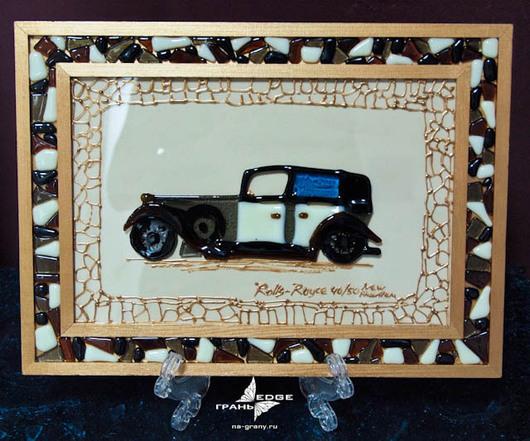 """Город ручной работы. Ярмарка Мастеров - ручная работа. Купить картина из стекла """"Rollse Royce"""". Handmade. Картина, машина, Фьюзинг"""