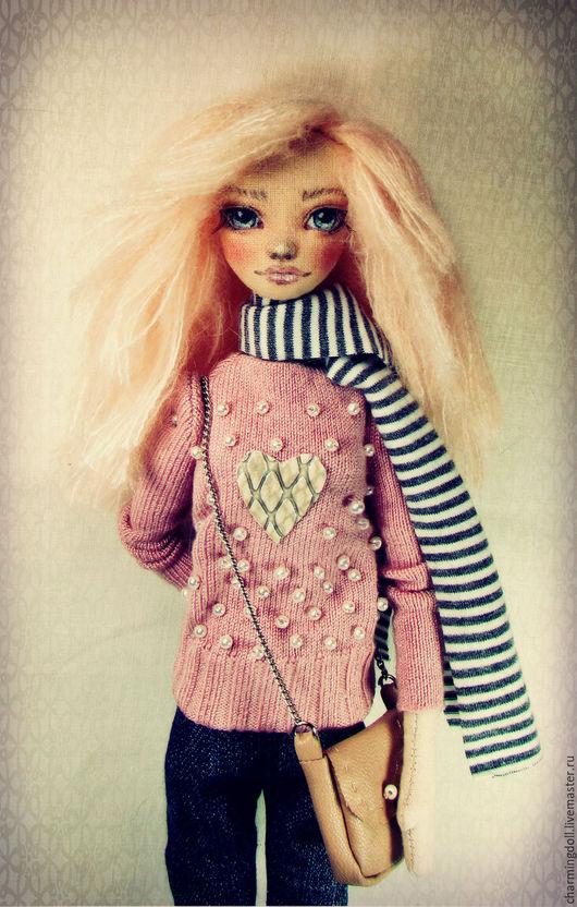 Коллекционные куклы ручной работы. Ярмарка Мастеров - ручная работа. Купить Авторская текстильная кукла. Handmade. Бледно-розовый