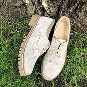 Обувь ручной работы handmade. Livemaster - original item Oxford shoes beige suede beige sole. Handmade.