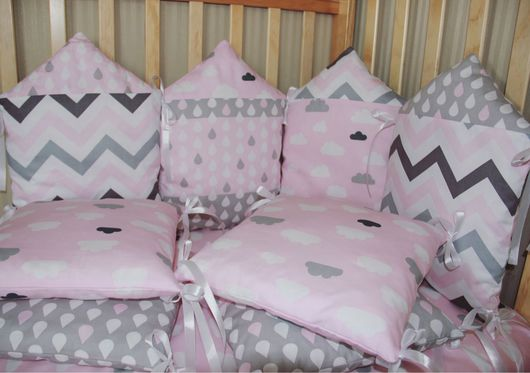 Детская ручной работы. Ярмарка Мастеров - ручная работа. Купить Бортики-подушки в детскую кроватку. Handmade. Комбинированный, бортики домики