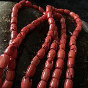 Бусины ручной работы. Ярмарка Мастеров - ручная работа Бусина 6х8 мм Оливка (16), коралл. Handmade.