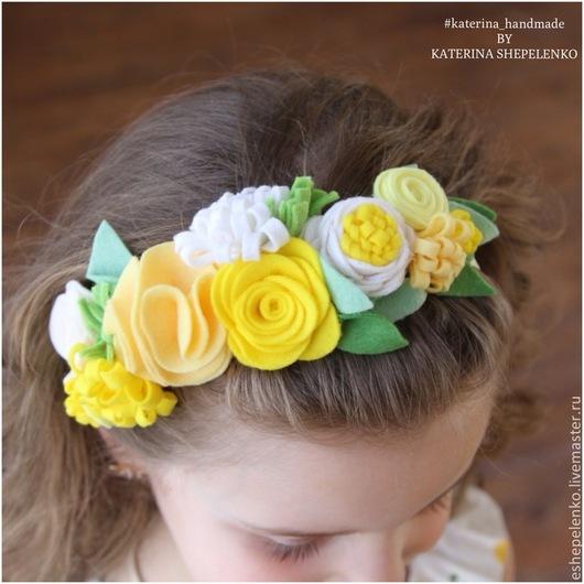 Повязки ручной работы. Ярмарка Мастеров - ручная работа. Купить Венок для волос весенние цветы  (на заказ). Handmade.