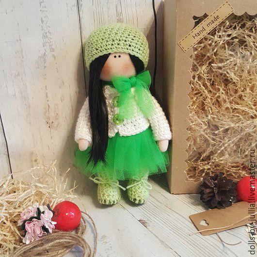 Куклы тыквоголовки ручной работы. Ярмарка Мастеров - ручная работа. Купить Интерьерная кукла. Handmade. Ярко-зелёный, кукла