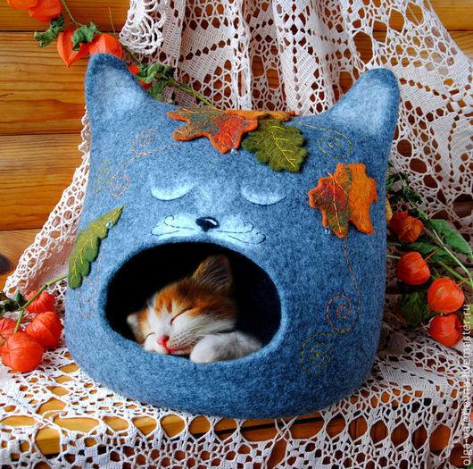 Аксессуары для кошек, ручной работы. Ярмарка Мастеров - ручная работа. Купить Кошкин дом Осенние сны.. Handmade. Серый, войлок