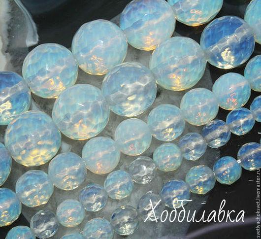 Бусины Лунного камня Опалит (имитация Адуляра) в форме шара с  красивейшей  микроогранкой!! размер от 4 до 14 мм