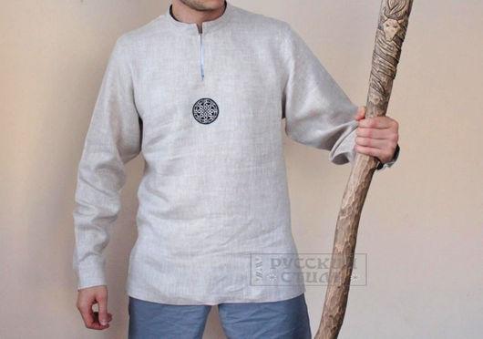 """Для мужчин, ручной работы. Ярмарка Мастеров - ручная работа. Купить Рубаха льняная """"Солнцеворот"""". Handmade. Бежевый, русская традиция"""