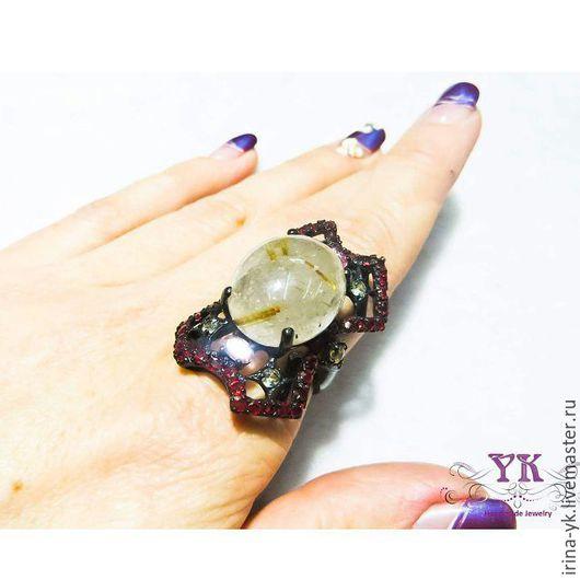 Кольца ручной работы. Ярмарка Мастеров - ручная работа. Купить Необычное кольцо из серебра и натуральных камней. Handmade. Бордовый