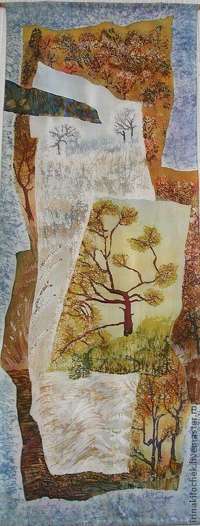 """Пейзаж ручной работы. Ярмарка Мастеров - ручная работа. Купить Батик-панно """"Времена года"""". Handmade. Зима, осень, шелк"""