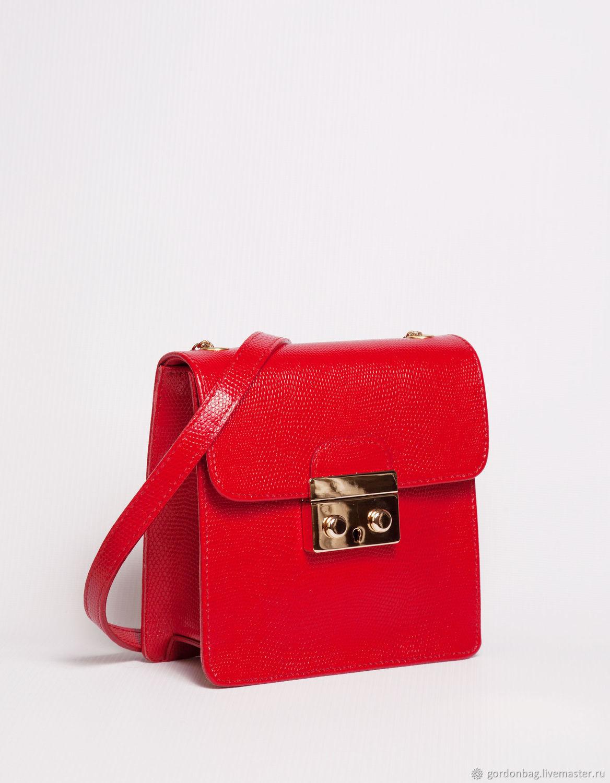 """Сумка из кожи """"Джеки"""", кросс боди, красная сумка, арт. 134 – заказать на Ярмарке Мастеров – J3CNZRU   Сумка через плечо, Тамбов"""