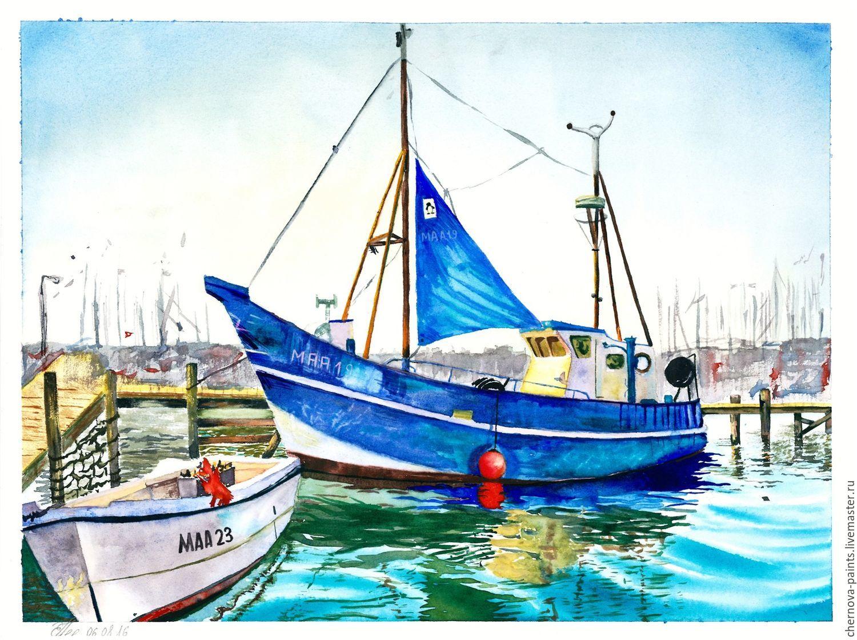 watercolor painting maasholm germany 30x40cm shop online on