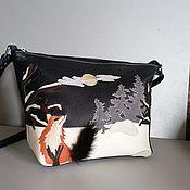 Сумки и аксессуары handmade. Livemaster - original item Bag leather women`s Bag with applique . Winter forest. Blue. Handmade.