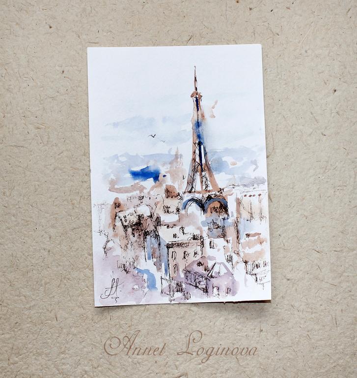 Бумага для открыток акварель, идет открытка