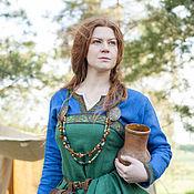 Одежда ручной работы. Ярмарка Мастеров - ручная работа Льняной сарафан викингини «Ингрид-хранительница очага». Handmade.