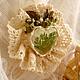 """Броши ручной работы. Ярмарка Мастеров - ручная работа. Купить прозрачная брошь с кружевом и цветами """"Весна"""". Handmade. Зеленый"""
