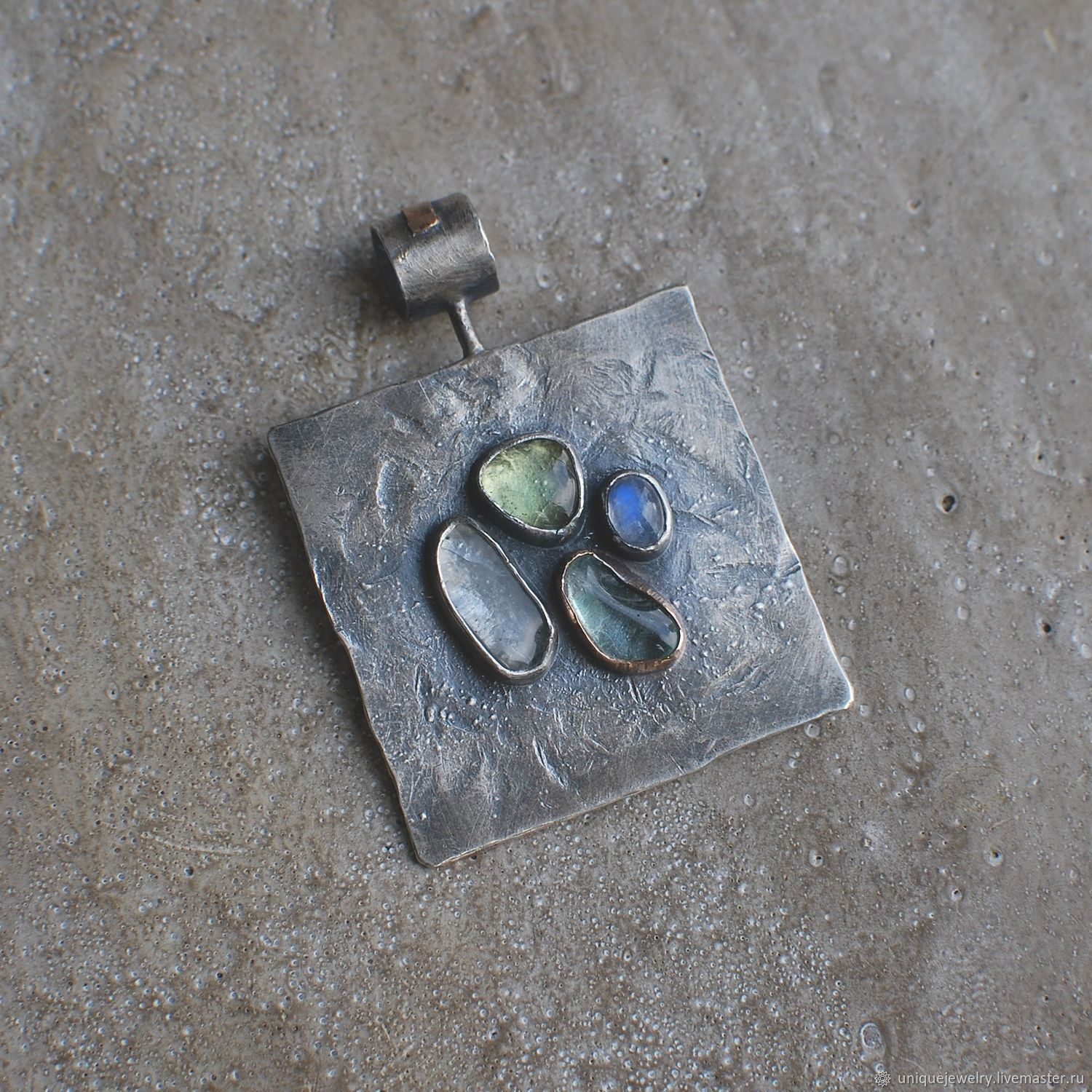 Four stone pendant, silver and bronze, Pendants, Moscow,  Фото №1