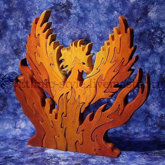 Развивающие игрушки ручной работы. Ярмарка Мастеров - ручная работа. Купить Огненная птица Феникс (фигурка-пазл). Handmade. Оранжевый