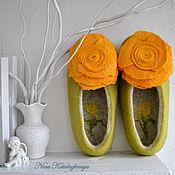 Обувь ручной работы. Ярмарка Мастеров - ручная работа Валяные тапочки Чайная роза. Handmade.