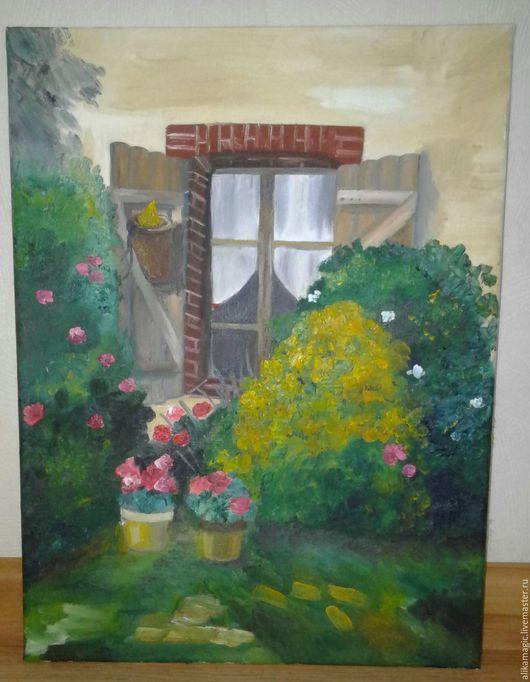 Пейзаж ручной работы. Ярмарка Мастеров - ручная работа. Купить Окно в деревне. Handmade. Комбинированный, деревня, цветы, масло