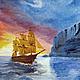 Пейзаж ручной работы. Ярмарка Мастеров - ручная работа. Купить Возвращение. Handmade. Разноцветный, море, корабль, пейзаж масло, масло