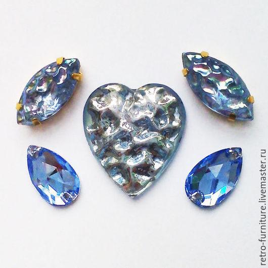 """Для украшений ручной работы. Ярмарка Мастеров - ручная работа. Купить Винтажный набор:стразы, кристаллы, подвески """"Light blue"""". Handmade."""
