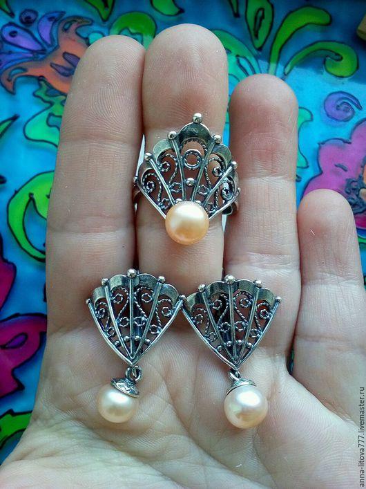 Комплекты украшений ручной работы. Ярмарка Мастеров - ручная работа. Купить 137 Комплект серебрение  серьги и кольцо с жемчугом и камнями. Handmade.