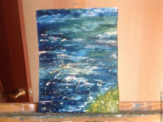 Абстракция ручной работы. Ярмарка Мастеров - ручная работа. Купить море. Handmade. Синий, акварель