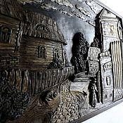 """Картины и панно ручной работы. Ярмарка Мастеров - ручная работа Резное панно """"Уездный город"""". Handmade."""