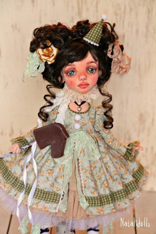 Коллекционные куклы ручной работы. Ярмарка Мастеров - ручная работа. Купить Викки. Handmade. Салатовый, подарок, кожа