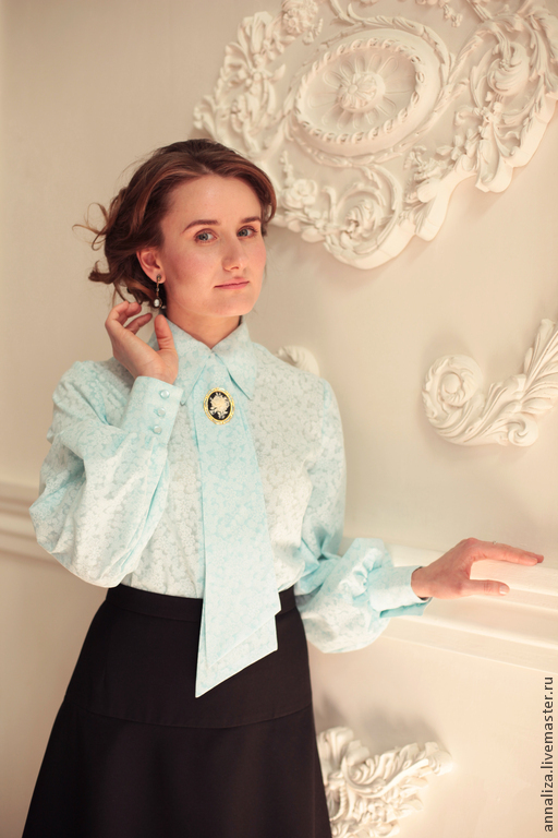 Women's blouse with tie 'Blue lagoon', Blouses, Moscow,  Фото №1