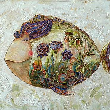 """Картины и панно ручной работы. Ярмарка Мастеров - ручная работа Картина """"Цветочная рыба III"""". Handmade."""