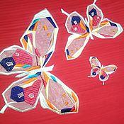 """Материалы для творчества ручной работы. Ярмарка Мастеров - ручная работа Аппликация на капроне"""" Бабочки"""" (комплект). Handmade."""