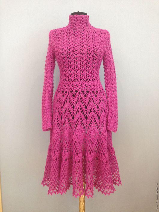 Платья ручной работы. Ярмарка Мастеров - ручная работа. Купить Платье из мохера. Handmade. Фиолетовый, теплое платье