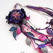 Украшения handmade. Livemaster - original item Floral necklace made of leather with charoite and amethyst Purple Paradise. Handmade.