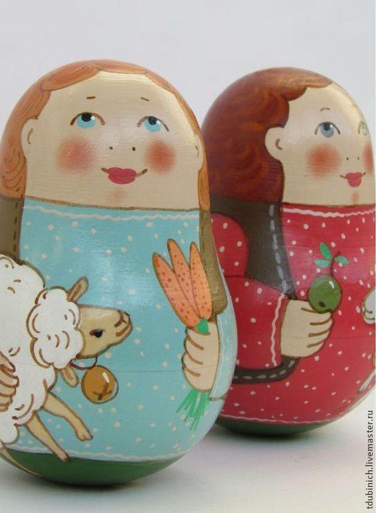 """Развивающие игрушки ручной работы. Ярмарка Мастеров - ручная работа. Купить Неваляшка """"Мальчик с овцой"""", символ 2015года.. Handmade."""