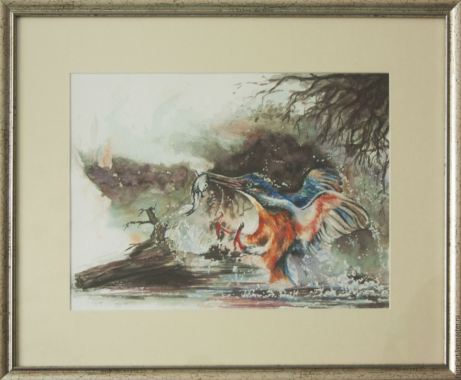 Successful fishing, Kingfisher and fish, watercolor, Pictures, Novosibirsk,  Фото №1