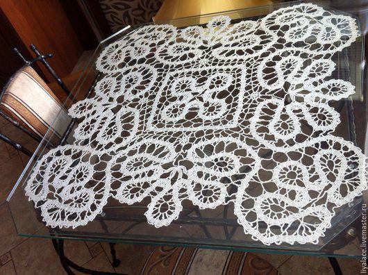 Текстиль, ковры ручной работы. Ярмарка Мастеров - ручная работа. Купить Вязаная скатерть. Handmade. Бежевый, вязаная салфетка