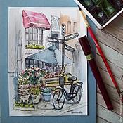 Картины и панно ручной работы. Ярмарка Мастеров - ручная работа акварель По улицам Амстердама. Handmade.