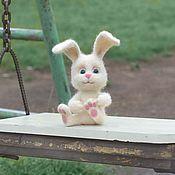 Куклы и игрушки handmade. Livemaster - original item Bunny white. felted toy made of wool. Handmade.