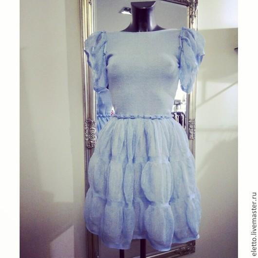 """Платья ручной работы. Ярмарка Мастеров - ручная работа. Купить Платье """"Облако"""". Handmade. Голубой, Машинное вязание, платье на заказ"""