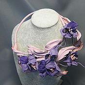 Украшения ручной работы. Ярмарка Мастеров - ручная работа Колье из кожи Дикая орхидея. Handmade.