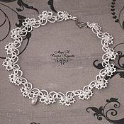 Свадебный салон handmade. Livemaster - original item Wedding necklace Romantic Bride white lace choker, tatting. Handmade.