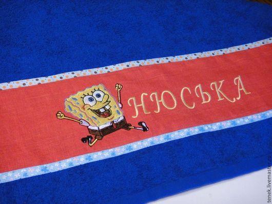 Текстиль, ковры ручной работы. Ярмарка Мастеров - ручная работа. Купить Спанч Боб Полотенце махровое с логотипом Подарок любимому мужчине. Handmade.