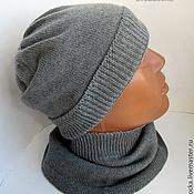 """Аксессуары ручной работы. Ярмарка Мастеров - ручная работа комплект для подростка """"Grey"""" шапка и шарф-снуд. Handmade."""