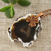 Подвеска ручной работы. Ярмарка Мастеров - ручная работа Подвеска Клевер №3 (коричневый срез агата). Handmade.