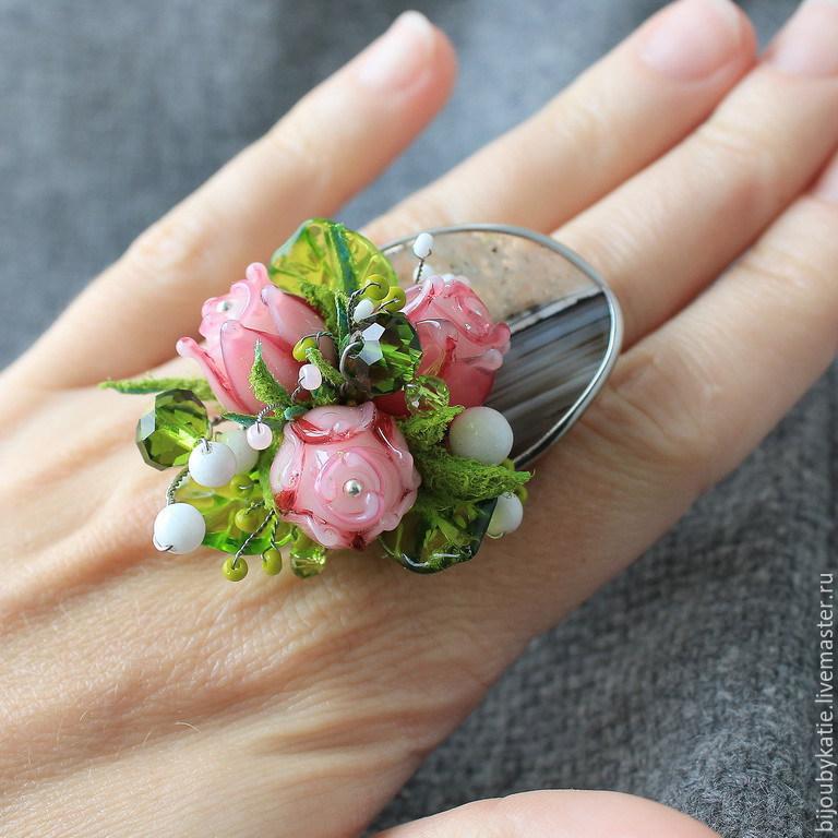 Лэмпворк бусины цветы купить