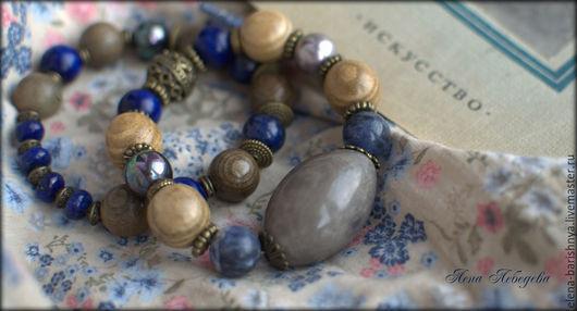Комплект браслетов с орехом тагуа `Дыхание тишины`. Ручная работа. Украшения `Барышня`.