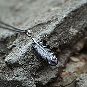 Украшения handmade. Livemaster - original item Feather Pendant with Amethyst. Handmade.