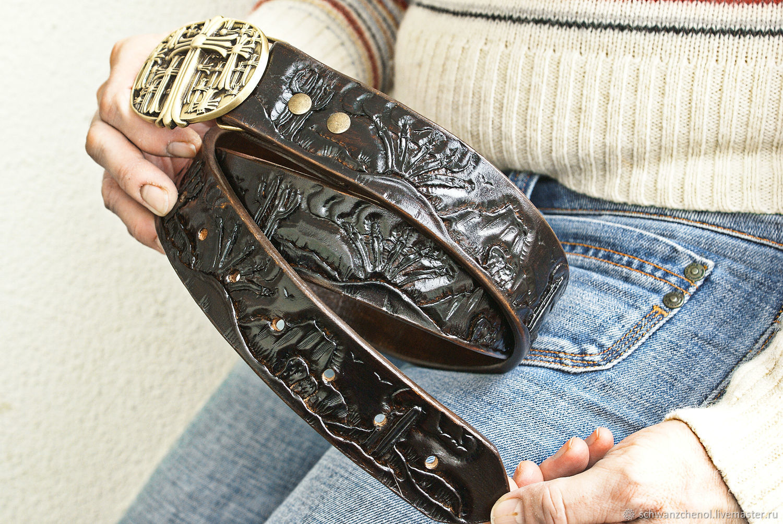 Black leather belt handmade, Straps, Krasnodar,  Фото №1